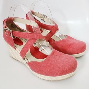 B.O.C Red Espadrille Wedge Heel Strappy Clog Pumps